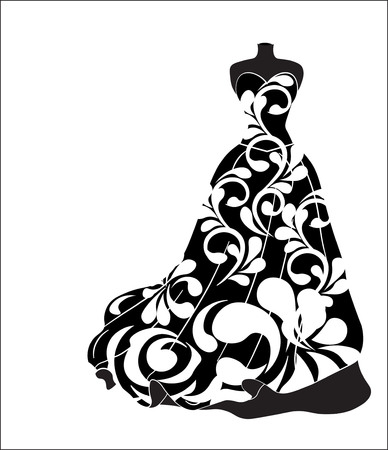 Sketch of a wedding flower dress on a mannequin.