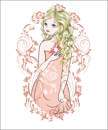 the girl with the star, in an evening dress, in fairy suit