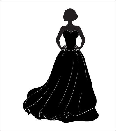 sposa su un abito da sposa nero, una silhouette