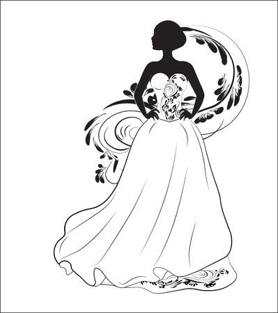 Bride on a wedding dress vector illustration