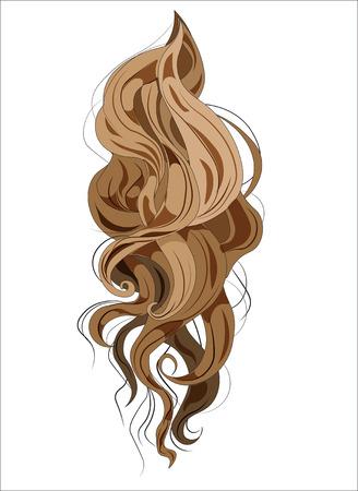 髪のベクトルリングレット, 長いとカーリング, 茶色  イラスト・ベクター素材