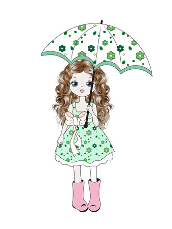 T-shirt, Graphics Cute girl in a dress with flowers and an umbrella, in rubber boots Illustration