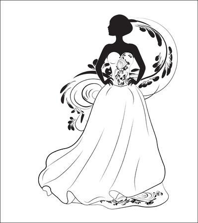 bride on a black wedding dress, a silhouette Illustration