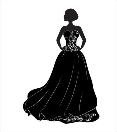 bride on a black wedding dress, a silhouette Vettoriali