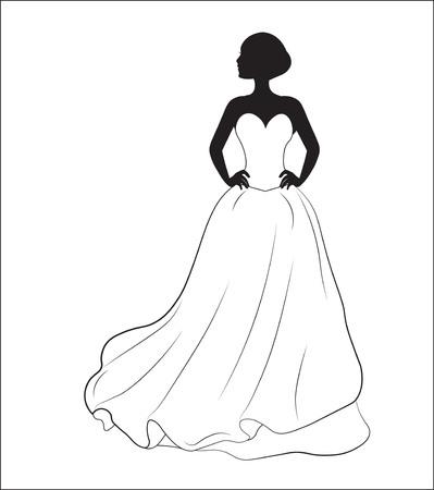 bride on a white wedding dress, a silhouette Stock Illustratie