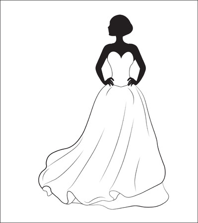sposa su un abito da sposa bianco, una silhouette