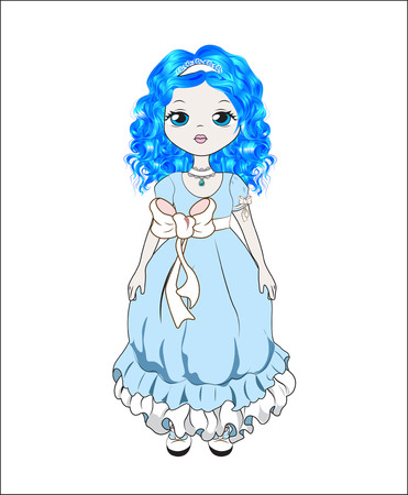 Malvina is the girl with blue hair, a lovely doll Illustration
