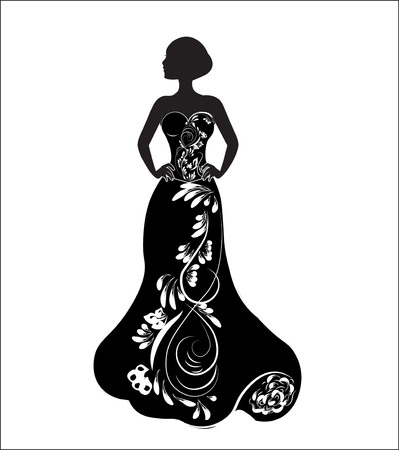 bride on a wedding dress, a silhouette Vector illustration.