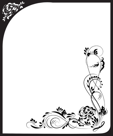 Beautiful vintage flower pattern, white on a black background, drawings of monograms on nails.