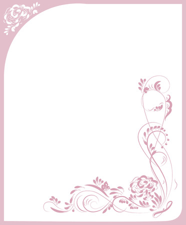 beautiful vintage flower pattern, pink on a white background