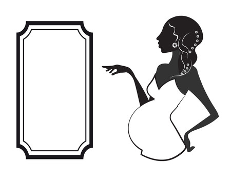 silhouette of the pregnant woman, in a white dress, and frame Çizim