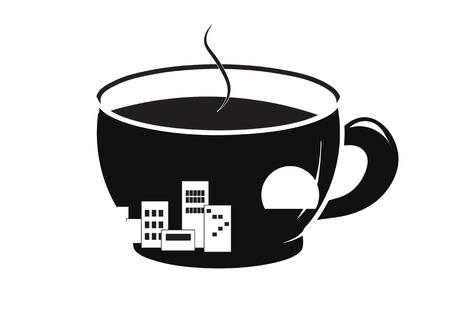 cup of coffee a silhouette, with city buildings, morning in the city