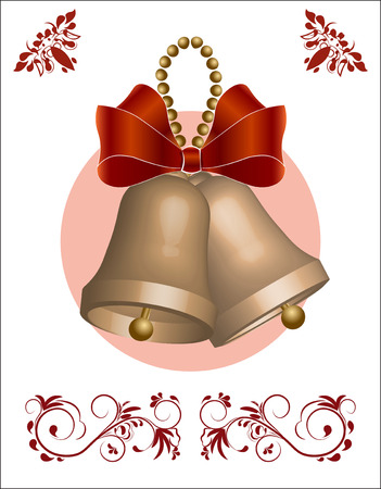 Gold Christmas hand bells, with a bow, Christmas-tree decoration