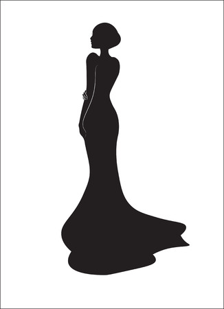 girl, bride on a black wedding dress, a silhouette Stock Illustratie