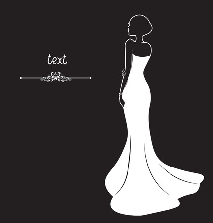 girl, bride on a black wedding dress, a silhouette Vettoriali