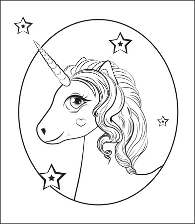 funny little unicorn pony with pink and blue mane, and stars, unicorn Happy birthday card Illustration