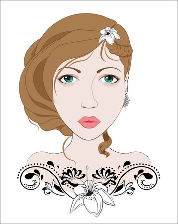 vector face, the beautiful girl, with blue eyes and chubby lips Banque d'images - 122860866