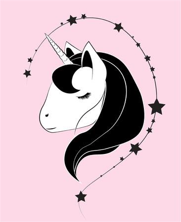 The horse head, fantastic unicorn, the picture on clothes Illusztráció