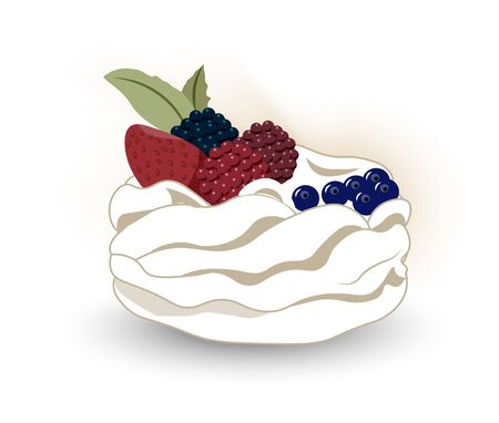 Pavlova is a meringue-based dessert whiyh a fresh berries, named after the Russian ballerina Anna Pavlova. Illustration