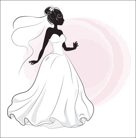 bride shower on a white wedding dress, a silhouette Ilustracja