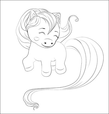 funny little  pony with long hair, a coloring Stock Illustratie