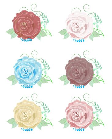 the beautiful drawn vector rose, with green leaves, red, pink, blue, brown, yellow Foto de archivo - 129152601