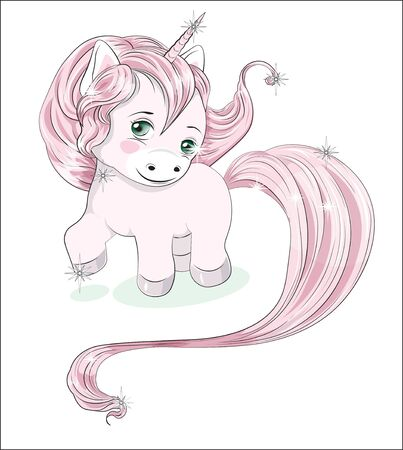 funny little pony unicorn with long hair, a coloring