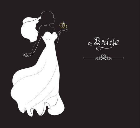 silhouette of the bride with gold heart, on black background, jeweller's salon