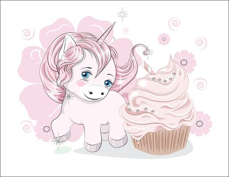 funny little  pony unicorn with long hair, and cupcake