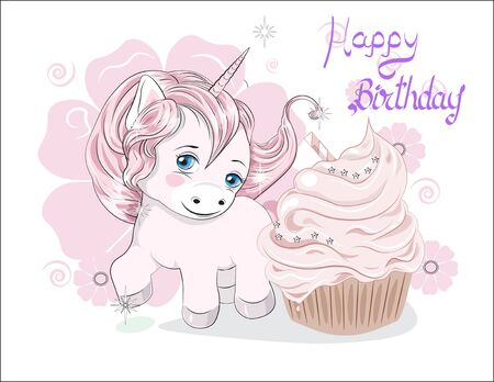funny little  pony unicorn with long hair, and cupcake, Happy birthday card  イラスト・ベクター素材
