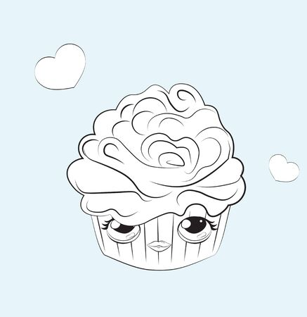 cupcake with the cream,, with funy face, Coloring book  Can be used for t-shirt print, kids wear fashion design, baby shower invitation card.