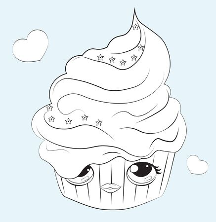 cupcake with the cream decorated with star, with funy face, Coloring book  Can be used for t-shirt print, kids wear fashion design, baby shower invitation card.