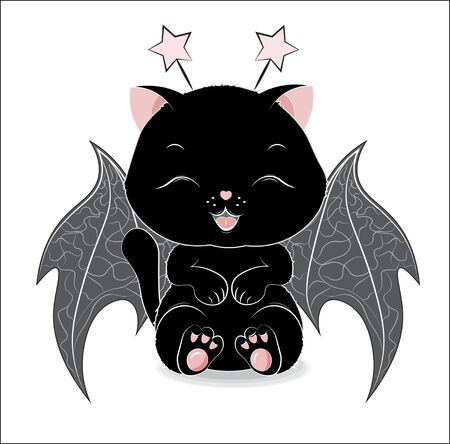 black Halloween a cat, with horns and wings of a bat.  Can be used for t-shirt print, kids wear fashion design, baby shower invitation Halloween card.