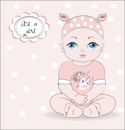 the baby girl with blue eyes, sits in a pink Bodysuit with unicorn print, it;s a girl.  Can be used for t-shirt print, kids wear fashion design, baby shower invitation card.