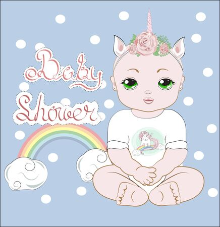 the baby girl with green eyes, sits in a white. Bodysuit with unicorn print, Unicorn baby party.  Can be used for t-shirt print, kids wear fashion design, baby shower invitation card.