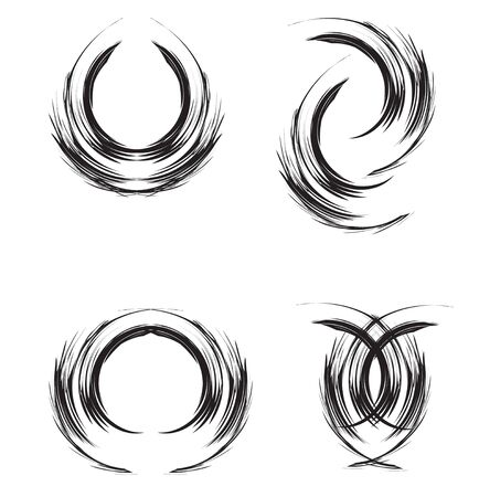 abstract brush, ringlet of hair, abstract moon and circle