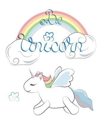 Be unicorn, card with the flying adorable unicorn and a rainbow. Can be used for t-shirt print, kids wear fashion design, baby shower invitation card.