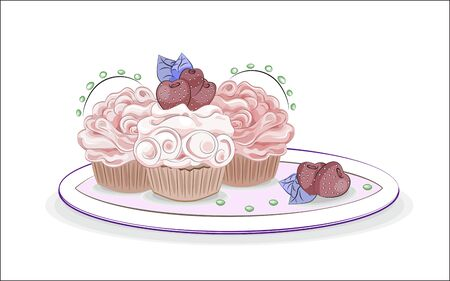 three cupcakes with cream decorated with strawberry.