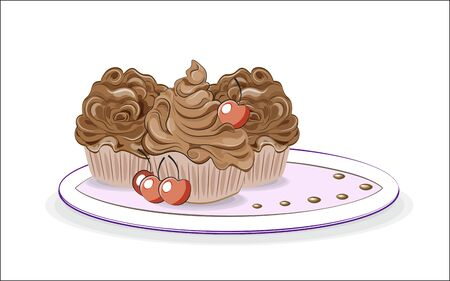 three chocolate cupcakes with cream decorated with cherry, food presentation 矢量图像