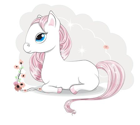 Magic white pony with a pink mane and a tail, and blue eyes, lies.  Can be used for t-shirt print, kids wear fashion design, baby shower invitation card. Ilustrace