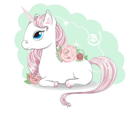 Magic white unicorn with a pink mane and a tail, and blue eyes, lies.  Can be used for t-shirt print, kids wear fashion design, baby shower invitation card.