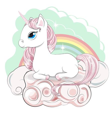 Magic white unicorn with a pink mane and a tail, and blue eyes, lies, in pink clouds.  Can be used for t-shirt print, kids wear fashion design, baby shower invitation card.