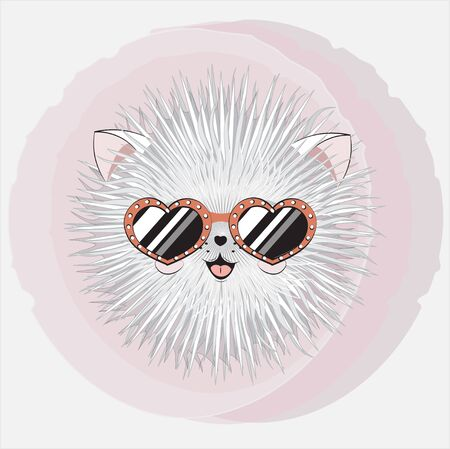 cartoon round fluffy stylized white cat in sunglasses, kitten. Can be used for t-shirt print, kids wear fashion design, baby shower;  invitation card.