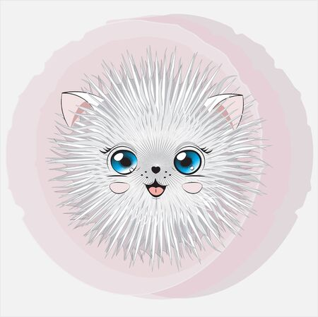 cartoon round fluffy stylized white cat, kitten. Can be used for t-shirt print, kids wear fashion design, baby shower;  invitation card.