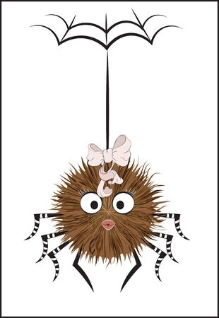 cartoon fluffy smiling spider girl with bow, hangs on a thread. Can be used for t-shirt print, kids wear fashion design,  Halloween invitation card.