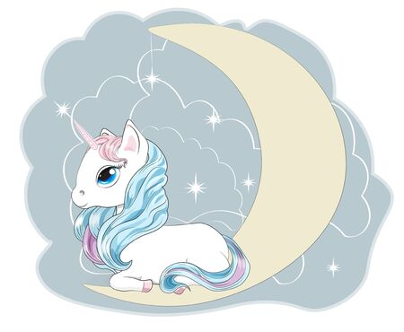 Magic white unicorn on the moon with a mane and a tail, and blue eyes, lies.  Can be used for t-shirt print, kids wear fashion design, baby shower invitation card. Ilustrace
