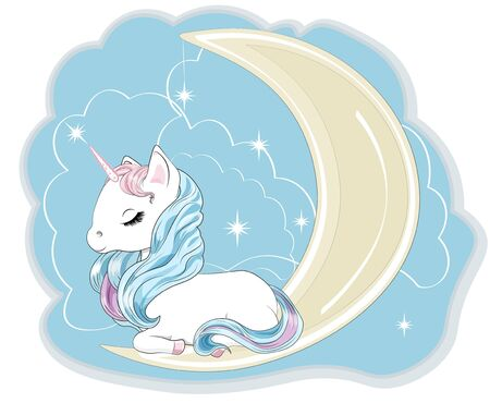 Magic white unicorn on the moon with a mane and a tail, and closed eyes, lies.  Can be used for t-shirt print, kids wear fashion design, baby shower invitation card. Ilustrace