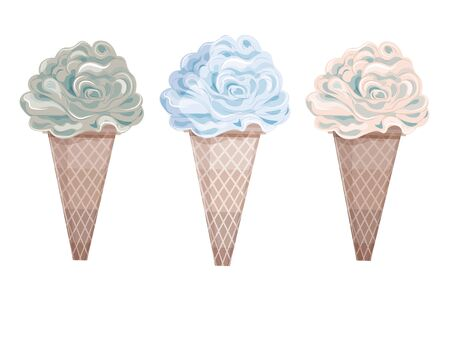 3 isolated color frozen ice creams, vector graphics 写真素材 - 131904666