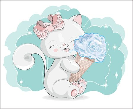 the lovely white cat, kitten, sits and smile, cat with ice cream.  Can be used for t-shirt print, kids wear fashion design, baby shower invitation card.