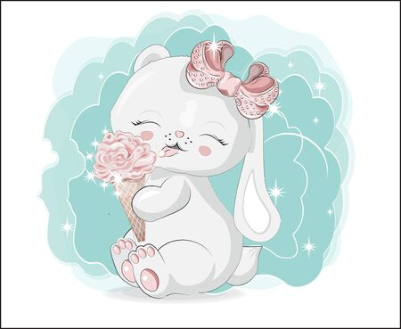 the lovely white honey bunny, rabbit, sits and smile, cat with ice cream.  Can be used for t-shirt print, kids wear fashion design, baby shower invitation card.